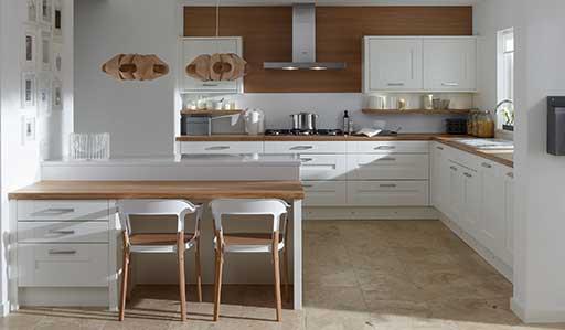 Island Modular Kitchen Design L Shape White High Gloss