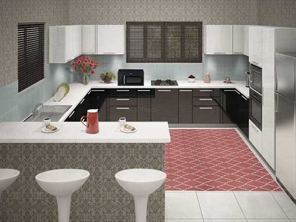 G Shape Modular Kitchen Design in Delhi